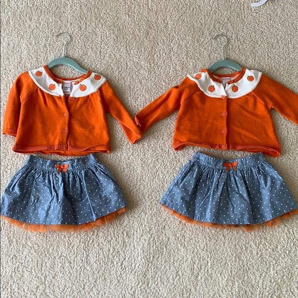 Two girls pumpkin sweater and tulle denim skirt